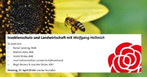 Veranstaltungsbanner mit Biene, die auf eine Sonnenblume zufliegt